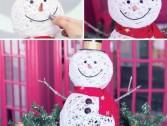Boneco de neve feito de cordão para o Natal!