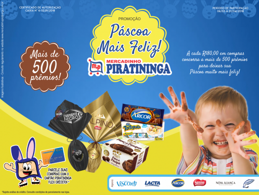 Ainda dá tempo de participar da Promoção Páscoa Mais Feliz do Mercadinho Piratininga, venha!