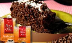 Bolo de Chocolate com Café Rosa de Ouro